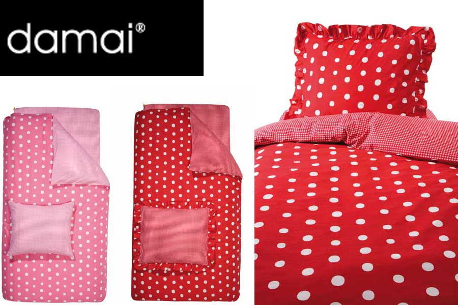 damai luxus kinder wende bettw sche dotty spotty rot 135. Black Bedroom Furniture Sets. Home Design Ideas
