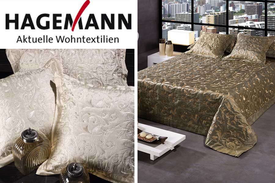 hagemann berwurfdecke tagesdecke f bett couch ginebra 238 gold natur ebay. Black Bedroom Furniture Sets. Home Design Ideas