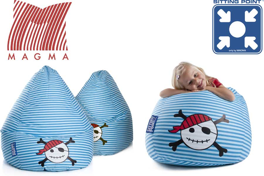 sitting point bean bag pirate seat beanbag cushion blue in 2 sizes. Black Bedroom Furniture Sets. Home Design Ideas